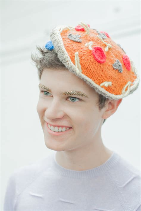 knitted eyebrows knitted pizza hat make