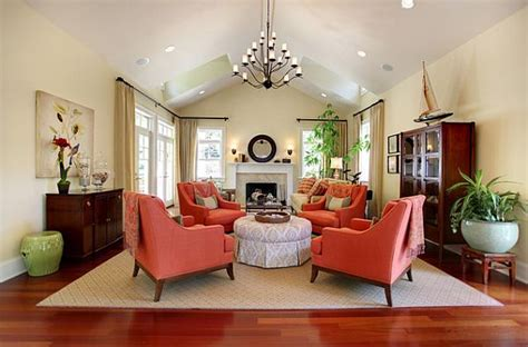 Coral Colored Armchair Traditional Living Room With Coral Colored Comfy Chairs