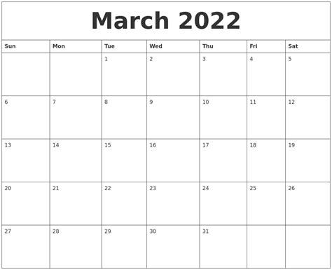 blank template calendar month march 2022 blank monthly calendar template
