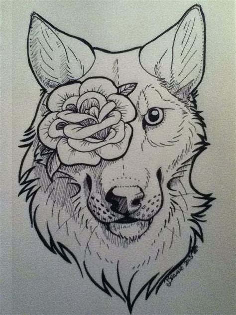 wolf with rose tattoo wolf drawing pictures to pin on
