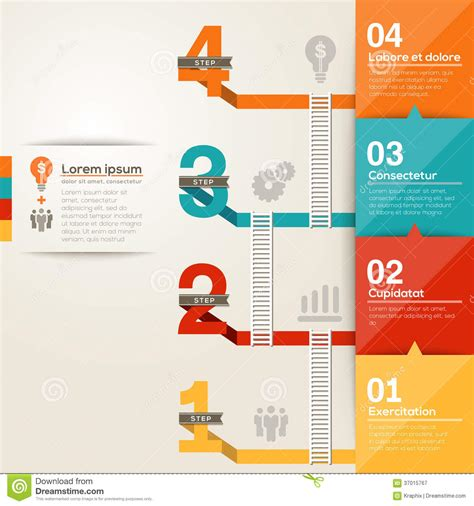 stepping design templates number 1234 step ladder to success with flat design layout