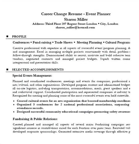 Resume Profile Exles For Career Change Career Change Resume Event Planner Resume Sle Pdf Free Sles Exles Format Resume