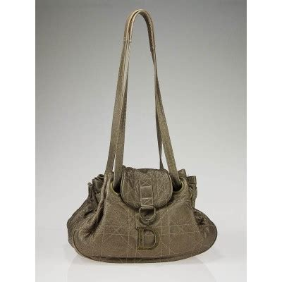 Cannage Vinyl Medium Shoulder Bag by Christian Bronze Metallic Lambskin Leather Cannage