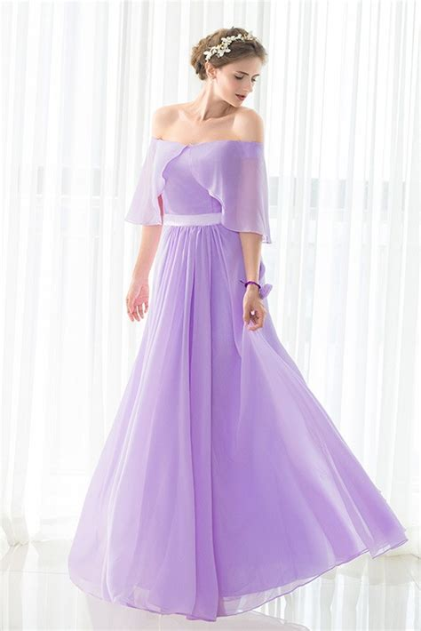 shoulder purple long chiffon elegant bridesmaid