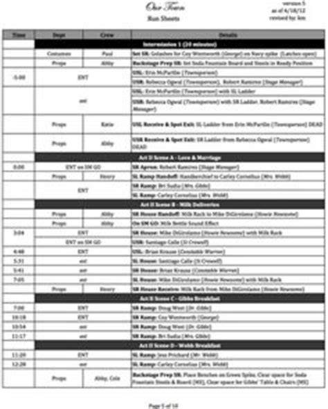 Simple lighting cue sheet for students. | Theatre Tech