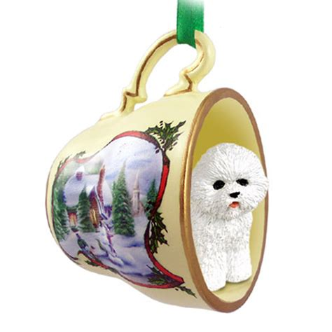 bichon frise ornament figurine christmas holiday teacup