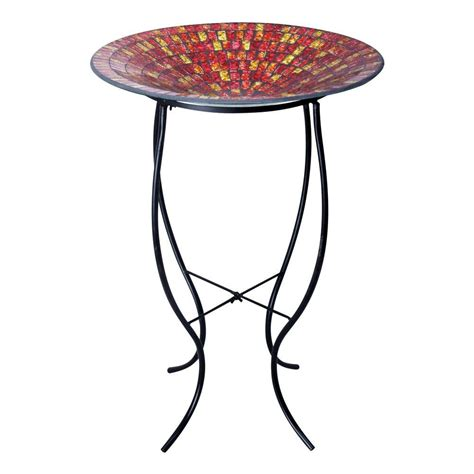 Alpine Blinds Alpine 18 In Red And Gold Mosaic Glass Birdbath With