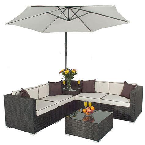 Garden Corner Sofa Set by Seville Corner Sofa Set With Parasol Rattan Wicker Garden