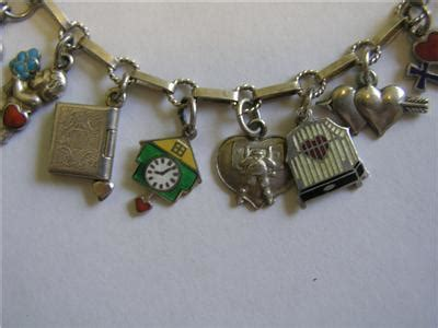 Ac4 Amour Bracelet Import antique deco german 800 silver enamel charm bracelet w 20 charms ebay
