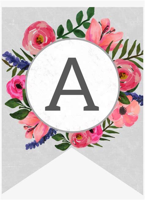 floral alphabet banner letters  printable