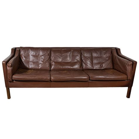 Leather Vintage Sofa Mogensen Chocolate Vintage Leather Sofa