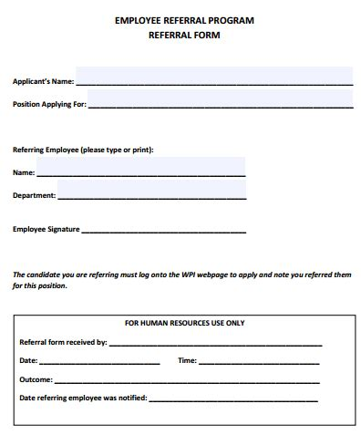 client referral form template 4 employee referral form templates free sle templates