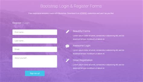 Azmind Wordpress Themes Bootstrap Templates Web Design Resources Registration Web Page Template