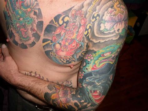 Japanese Chest Arm Tattoo Traditional Japanese Chest Plate Tattoos