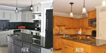 Before And After Kitchen Cabinet Painting Painted Kitchen Cabinets Before And After Photos