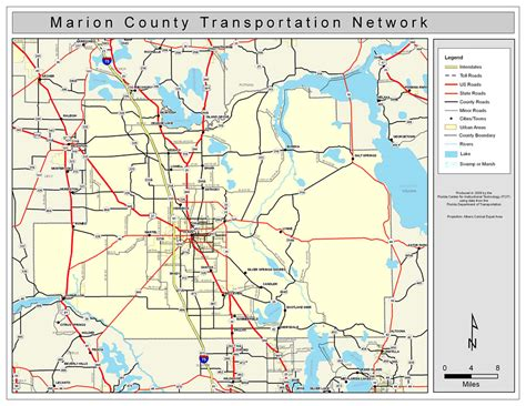florida county map with highways marion county road network color 2009