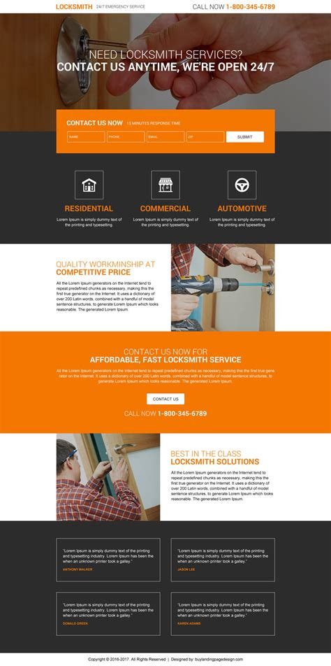 layout landing page locksmith lead gen best converting landing page designs 2016