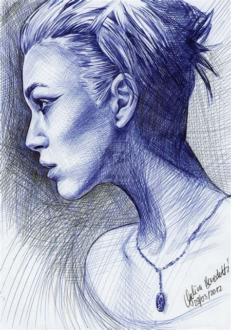Sketches With Pen by Keira Knightley Ballpoint Pen By Angelinabenedetti