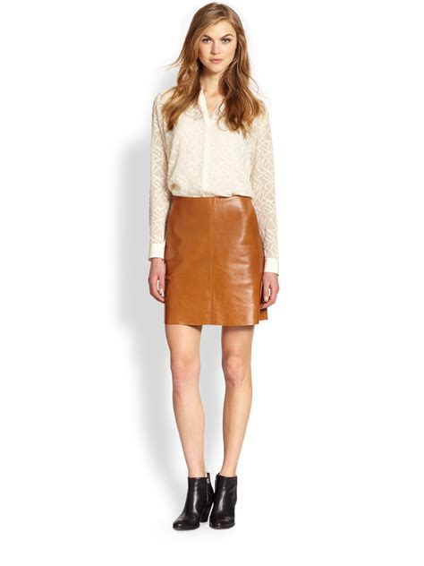 m i h leather skirt in brown lyst
