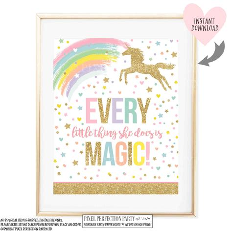 your unicorn name party sign your unicorn name party game unicorn wall quote unicorn party sign every little thing she