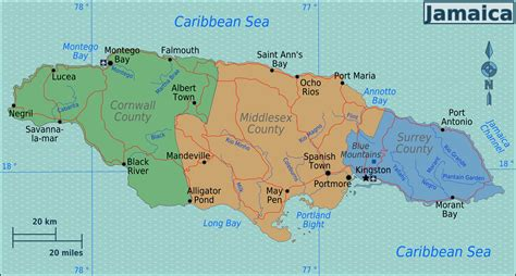 map of america showing jamaica large map of the regions of jamaica jamaica regions large