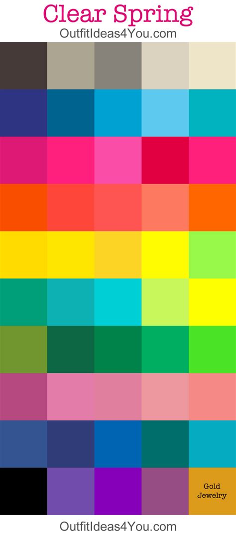 bright color combinations clear spring color palette pure spring bright spring