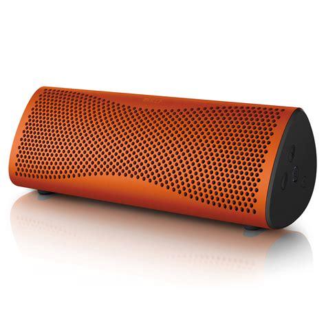 kef muo portable bluetooth wireless speaker sunset orange