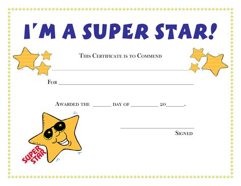 printable star awards certificates coloring