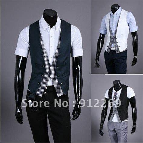 free shipping fashion vest plaid design false two waistcoat top slim vest for 3