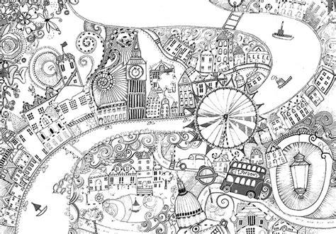 Dibujos para colorear para adultos londres : Thames and