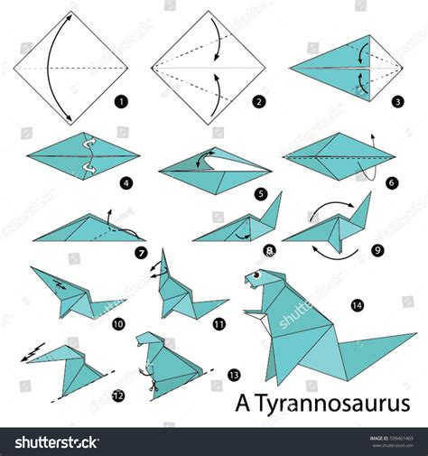 How To Make An Origami Dinosaur - step by step how make stock vector 599461469