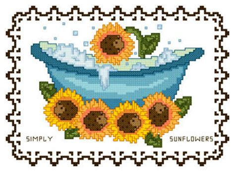 bathroom cross stitch patterns free bathtub collection simply sunflowers cross stitch pattern