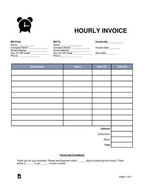 Free Hourly Invoice Template Hourly Invoice Invoice Design Inspiration