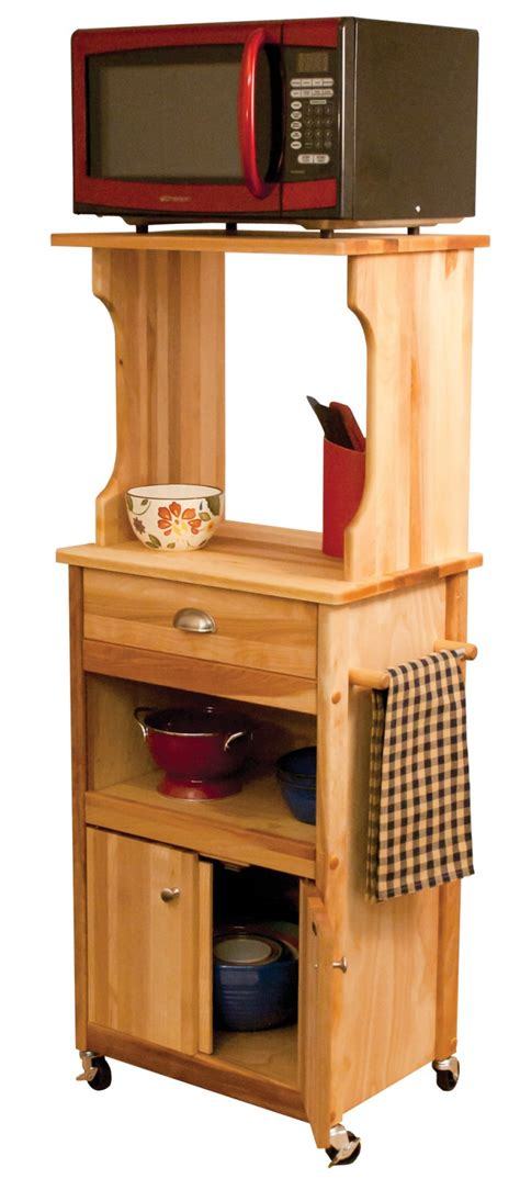 rubber wood microwave kitchen cart with modern brown steel microwave with red door and black