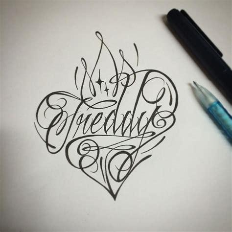 freddy desing tattoo ink line caligraphy lettering