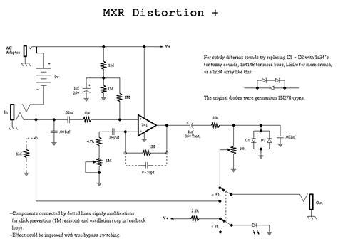 transistor lifier distortion mxr distortion plus schematic diagram electronik computer