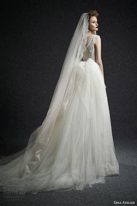 Dotted Sleeve A Line Dress ersa atelier fall 2015 wedding dresses wedding inspirasi