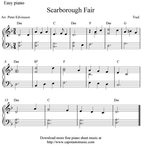 printable piano sheet music no download free free easy piano sheet music score scarborough fair