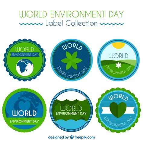 design for the environment label world environment day label collection with rounded design