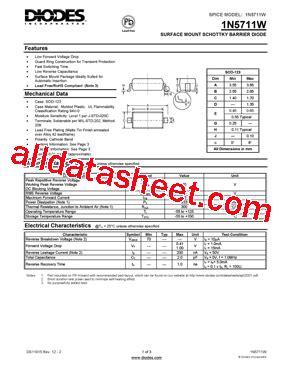 diodes inc bat54 7 f 1n5711w 7 f 데이터시트 pdf diodes incorporated