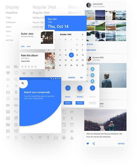material design ui elements material design ui kit free