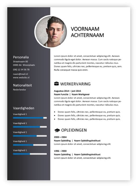 Curriculum Vitae Sjabloon Word Gratis gratis cv sjabloon downloaden word 28 images voorbeeld