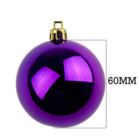 purple baubles shiny shatterproof pack of 18 x 60mm