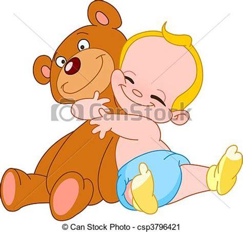 clipart bambino clipart vettoriali di bambino abbraccio orso allegro