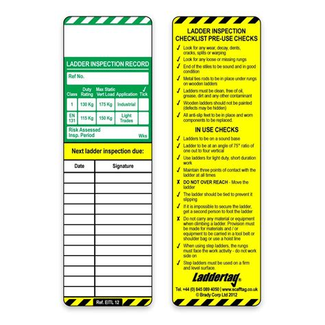 Scafftag Laddertag Insert Rsis Scaffold Safety Program Template