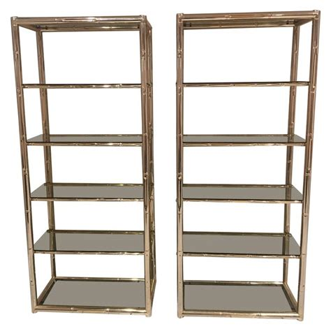 etagere 6 cases pair faux bamboo brass etageres glass shelves florida