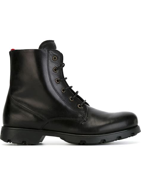 moncler boots lyst moncler lace up leather ankle boots in black for
