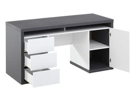 bureau bureau bureau igor ii 3 tiroirs 1 porte 1 niche blanc gris