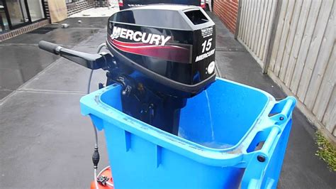 mercury outboard motor flushing attachment mercury 15hp outboard motor flushing in wheelie bin youtube