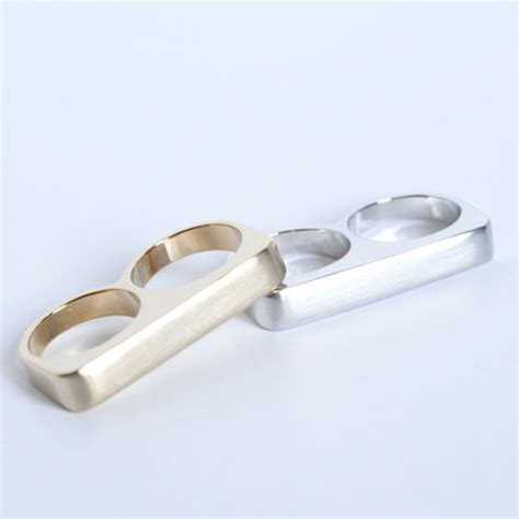 7 2 Finger Bar Rings matte finish bar ring size 6 7 8 available two